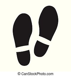 negro, impresión, icon., zapato, plano de fondo, aislado, icono, vector, blanco