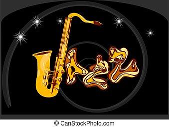 negro, inscripción, jazz