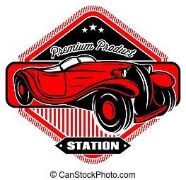 negro, insignia, con, rojo, retro, coche, y, inscripciones