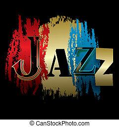 negro, jazz, palabra, aislado