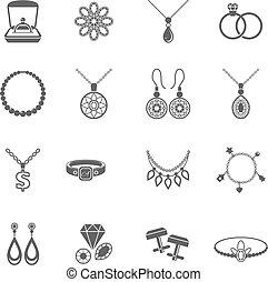 negro, joyas, icono