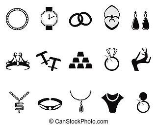 negro, joyas, iconos, conjunto