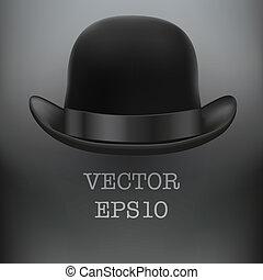 negro, jugador de bolos sombrero, en, un, fondo blanco,...