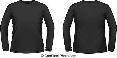 negro, largo-envuelto, camiseta