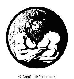 negro, león, luchador, blanco, hombre