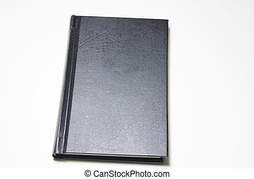 negro, libro encuadernado, aislado, blanco, plano de fondo