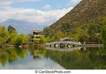 negro, lijiang, dragón, china, piscina