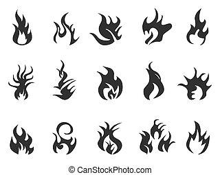 negro, llama, icono