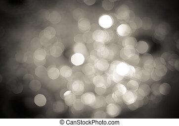 negro, luces, bokeh, defocused, blanco