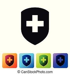 negro, médico, protector, con, cruz, icono, aislado, blanco, fondo., salud, protección, concept., seguridad, insignia, icon., intimidad, banner., seguridad, label., conjunto, icono, en, color, cuadrado, buttons., vector, ilustración