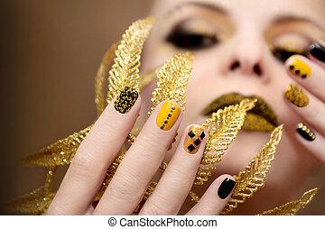 negro, manicura, amarillo
