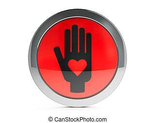 negro, mano, con, amor, icono, con, toque de luz