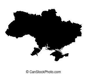 negro, mapa, de, ucrania