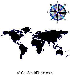 negro, mapa del mundo, con, viento, rosa