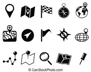 negro, mapa, iconos, conjunto