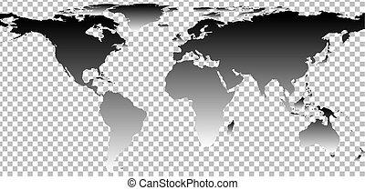 negro, mapa mundo, en, transparente, plano de fondo