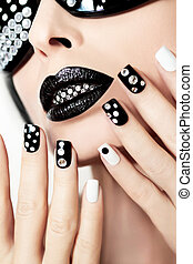 negro, maquillaje, y, manicure.