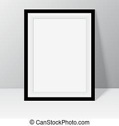 negro, marco, para, pinturas, o, fotografías