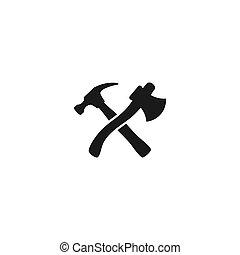 negro, martillo, axe., factótum, cruzado, cerrajero, carpintero