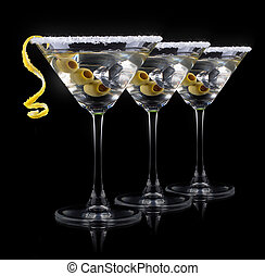 negro, martini, cóctel
