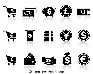 negro, moneda, iconos, conjunto