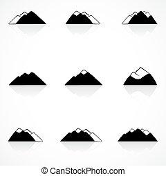 negro, montañas, iconos