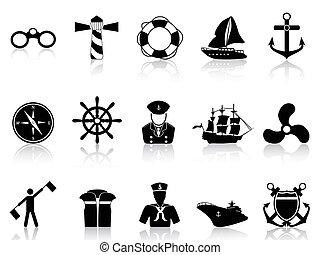 negro, navegación, iconos
