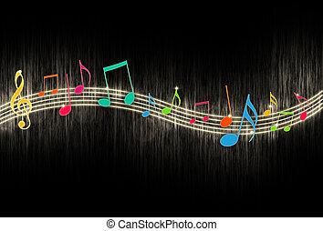 negro, notas, música, plano de fondo