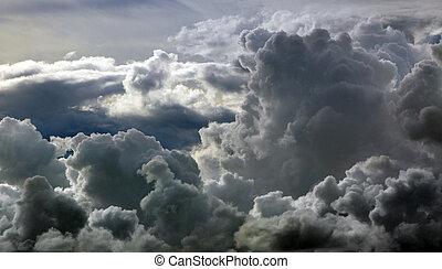 negro, nubes, tempestuoso