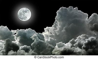 negro, nubes, tempestuoso, luna