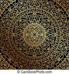 negro, oriental, plano de fondo, oro
