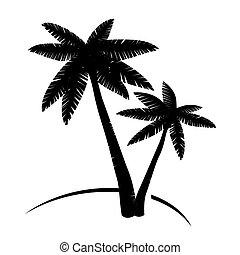 negro, palmas, árbol.
