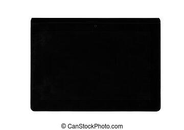 negro, pantalla, de, un, tableta