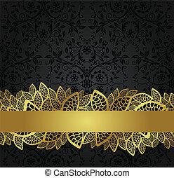 negro, papel pintado, y, dorado, bandera