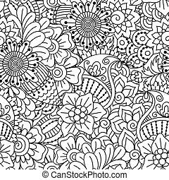 negro, pattern., seamless, blanco