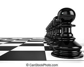 negro, peones, estante, consecutivo, en, un, tablero de ajedrez