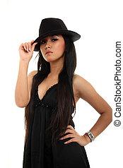 negro pesado, mujer, sombrero