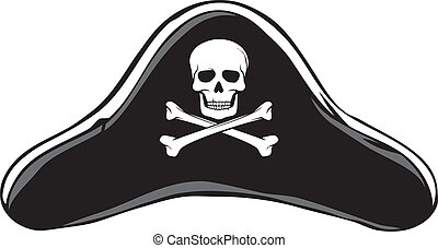 negro, pirata sombrero, (pirate's, hat)