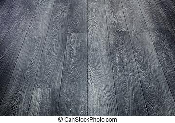 negro, piso, de madera
