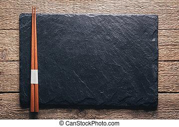 negro, pizarra, primer plano, textura