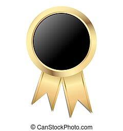 negro, -, plantilla, sello oro