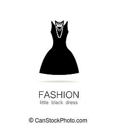 negro, poco, moda, vestido, plantilla