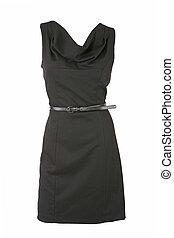 negro, poco, vestido, cinturón