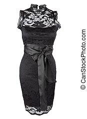 negro, poco, vestido, encaje