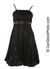 negro, poco, vestido, oropel