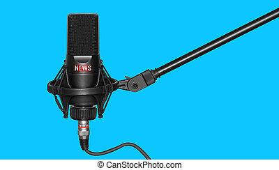 negro, profesional, aislado, micrófono, azul, logotipo, ...