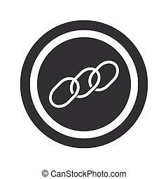 negro, redondo, cadena, señal