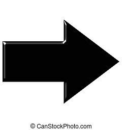 negro, reflexión, flecha, 3d