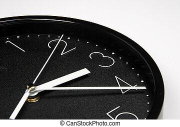negro, reloj