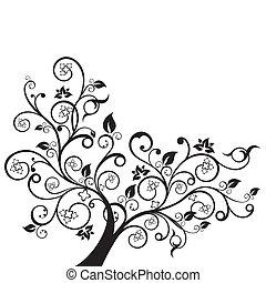 negro, remolinos, flores, silueta